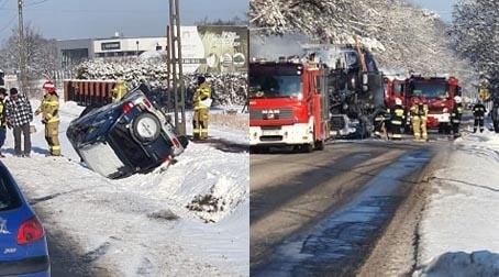 Pożar ciężarówki w Maryninie, dachowanie w Książenicach - Grodzisk News