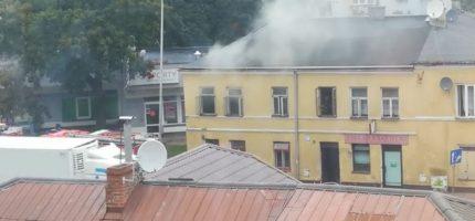 Pożar przy ul. Sienkiewicza [NAGRANIE]