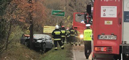 Samochód uderzył w drzewo. Kierująca w szpitalu